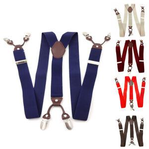 Heavy Duty Men's 6 Strong Clips Adjustable Elastic Suspenders- Leather Braces