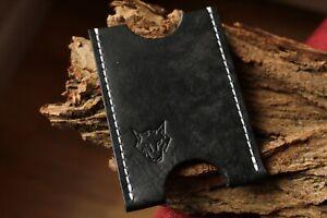 Card Holder - Handmade With Italian Leather - Colour: Black With Black Thread