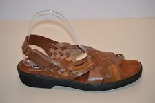 DR. SCHOLL'S Double Air-Pillo Insoles Women's Brown Leather Slingback Sandals 8