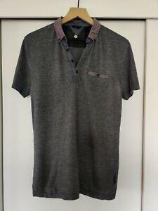 Ted Baker London Polo Collar Shirt Blue Pique Cotton Size 3 Medium