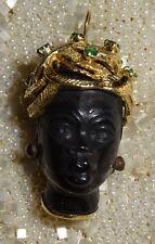 Antique Vintage Large 18K Gold and Emerald Blackamoor Pendant