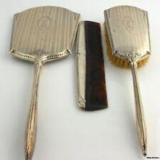 Vintage Monogrammed Vanity Set - .925 Sterling Silver Brush, Comb, Mirror 509.4g