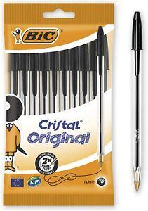 BIC Crystal Original Smudge Free Black Ballpoint Medium Point Biro 1.0 mm Pen
