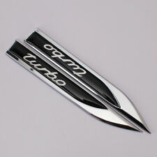 Black TURBO Emblem Sport Car Metal Knife Badge Emblems Decal Stickers Auto Decor