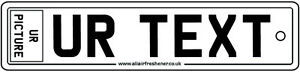Custom Picture & Text Number Plate Car Air Freshener