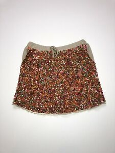 NWT: Girl's PEEK Brand Sequined Orange Multicolor Skirt - Size Large 8