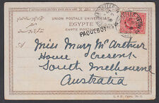 Great Britain Sc 128 on 1906 Paquebot PPC, Egypt-Australia, Pyramid of Chephren