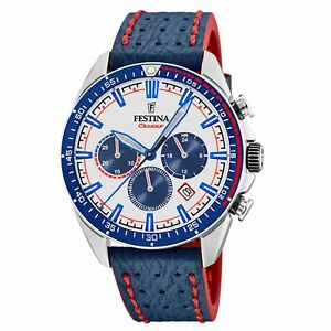 Festina F20377-1 Men's Blue Strap Chronograph Wristwatch