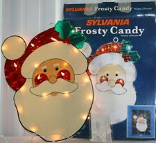 Sylvania frosty Candy Lighted Christmas Santa Claus Window Silhouette