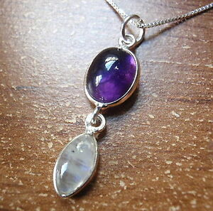 Amethyst and Moonstone Marquise 925 Sterling Silver Pendant Corona Sun h115h