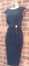 Black Sleeveless Gold Bar Detailed Ruched Side Drape Tea Dress Size 14