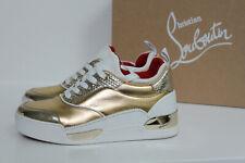 sz 6.5 / 37 Christian Louboutin Aurelien Gold Leather Donna Sneaker Flat Shoes