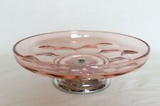 Art Deco Pink Glass Cake Plate on Chrome Stand