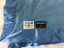 Faribo Wool Blanket Throw Blue 43 X 36 Woolen Mills Satin Trim Superwash Landau