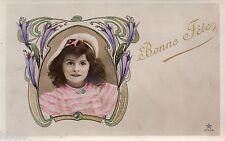 BJ500 Carte Photo vintage card RPPC enfant marin costume colorié cadre Fête