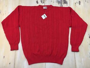 LA MODE: NWT Vtg 70s-80s Red Cableknit Crewneck Sportswear Golf Sweater, Mens XL
