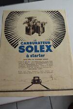 Ancienne publicité de presse - CARBURATEUR SOLEX A STARTER 3