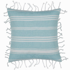 Hamptons Style Fresh Aqua with knotted fringe 40x40cm Cushion Cover RRP $ 37.95