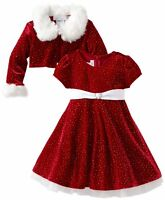 Bonnie Jean Girls Christmas Fur Santa Red Jacket Dress Newborn to Girls 16