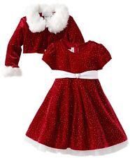 Bonnie Jean Girls Christmas Fur Santa Red Jacket Dress Newborn to Girls 16