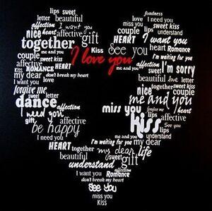 Love Heart Words Canvas Picture Wood Frame 50 x 50cm Girlfriend Present Black