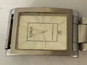 a vintage gents stainless steel cased tank shaped lorus watch