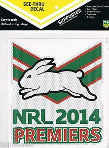 NRL South Sydney Rabbitohs Premiers Premiership See Thru Sticker / Decal / iTag