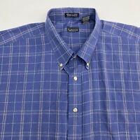 Van Heusen Button Up Shirt Men's 2XLT XXLT Short Sleeve Blue Plaid Wrinkle Free