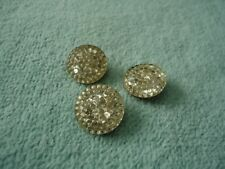 Antique (3) Vintage Mirrowed Buttons 3/4 inch Round