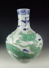 China Antique B&W Porcelain Global Vase with Green Dragon Deco