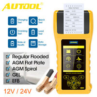 12V/24V Car Battery Tester with Printer Cranking Charging Battery Load Analyzer