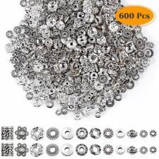 Paxcoo Lot de 600 perles intercalaires 12 styles argentés pour fabrication de