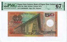 Papua New Guinea 50 Kina 2002 PMG 67 EPQ 1st pfx s/n AA 02 405936 POLYMER