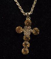 Fantastic gold tone metal chain necklace lovely twist orange stone crucifix