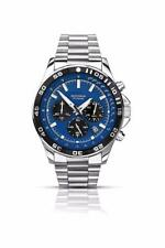 Sekonda Men's Quartz Watch With Blue Dial Chronograph Display and Silver Steel