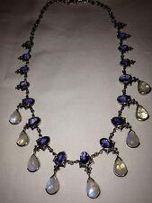 Stunning Opalescent Moonstone & Deep-Purple Tantalizing Tanzanite Necklace