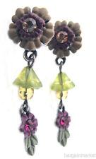 Vintage Style Antiqued Flower Crystal Dangle Post Earrings
