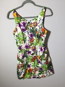 Zara Womens Playsuit Romper Size S  Colourful Floral Sleeveless Cotton