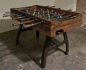 Industrial Sport Foosball Table Stone Platform Iron reclaimed wood heavy duty