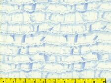 White & Blue Lacy Ruffles Quilting Fabric by Yard  #921