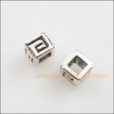 40Pcs Tibetan Silver Tone Tiny Square Spacer Beads Charms 4.5mm