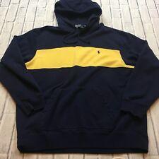 90s VTG POLO RALPH LAUREN COLORBLOCK Hoodie XL Sweatshirt Bold Stripe Sport Navy
