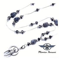 Stone Silver Ladies Women's Pretty ID Badge Keys Holder Necklace Lanyard New