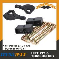 "Dakota 4WD 1987-2004 1-3"" Adj Front Forged Torsion Key & 2"" Rear Steel Block"