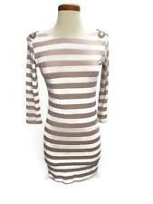 Womens Dress Rare Beige White Stripes Size 10 Shoulder Pads Beads Sequins