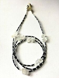 Clear Quartz Crystal Healing Gemstone Glasses Spectacles Cain Holder Cord