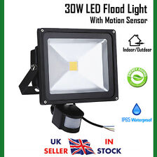 30W Cool White LED Floodlight Motion Sensor Outdoor Security Flood Light On/Off