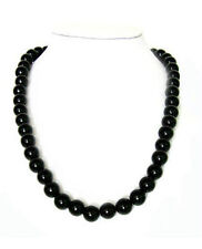 "Genuine black agate bead necklace-10mm 24"" long"