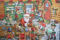 Christmas Santa's Toy shop digitally printed 100% cotton fabric panel 35 x 43