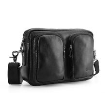 Real Leather Men Small Waist bag Shoulder Bag Crossbody Pocket Zipper Black Gift
